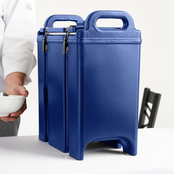 Cambro 350LCD186 Camtainer 3.375 Gallon Navy Blue Insulated Soup Carrier Main Image 8