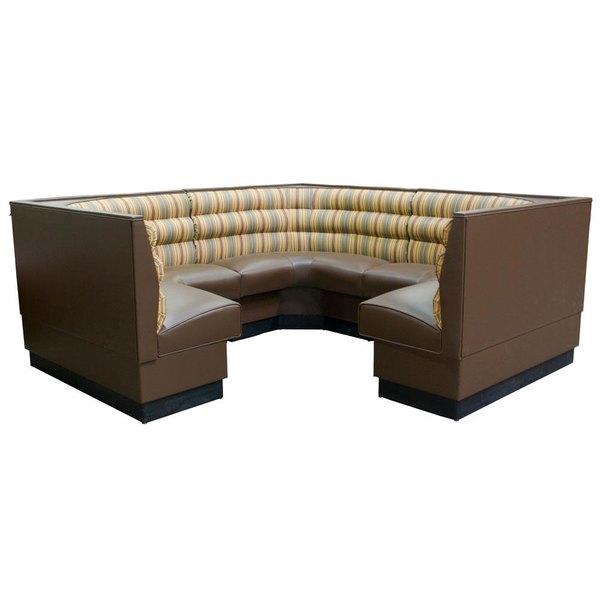 "American Tables & Seating AS-36HO-1/2 1/2 Circle Horizontal Channel Back Corner Booth - 36"" High"