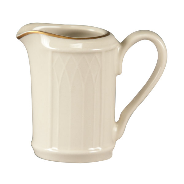 Homer Laughlin 1420-0039 Westminster Gothic Ivory (American White) 3.25 oz. Creamer - 36/Case