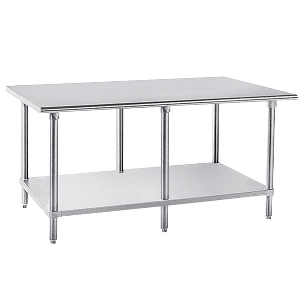 """Advance Tabco AG-2411 24"""" x 132"""" 16 Gauge Stainless Steel Work Table with Galvanized Undershelf"""