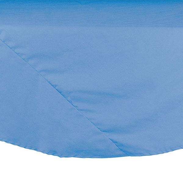 "132"" Light Blue Round Hemmed Polyspun Cloth Table Cover"