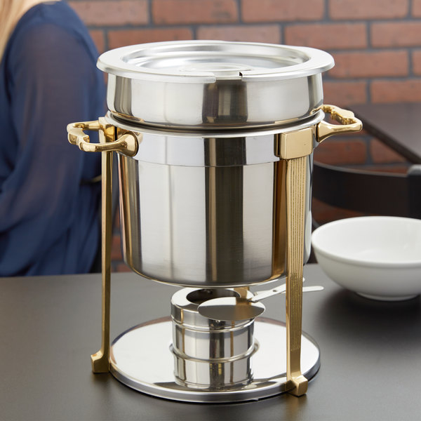 Vollrath 46075 7.25 Qt. Classic Brass Trim Soup Chafer Main Image 3