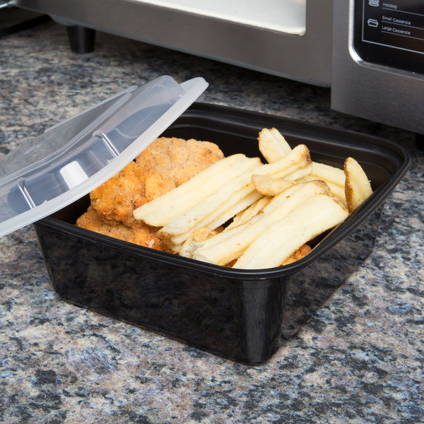 "Newspring NC636B 36 oz. Black 6 3/4"" x 6 3/4"" x 2 5/8"" VERSAtainer Square Microwavable Container with Lid - 150/Case"