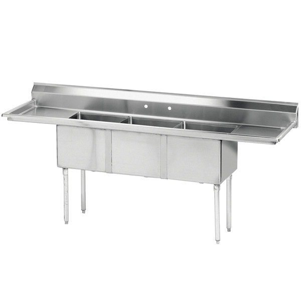 """Advance Tabco FE-3-1620-18RL Stainless Steel 3 Compartment Commercial Sink with 2 Drainboards - 84"""""""