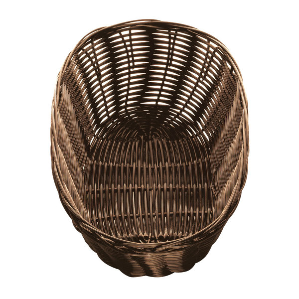 """Tablecraft 1476 10"""" x 6 1/2"""" x 3"""" Oval Brown Rattan Basket - 12/Pack Main Image 1"""