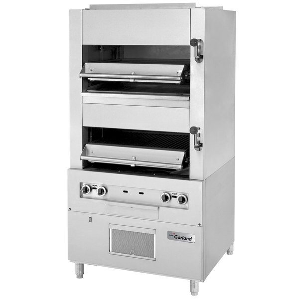 Garland M110XM Master Series Liquid Propane Heavy-Duty Upright Infrared Broiler with Two Broiling Chambers - 140,000 BTU