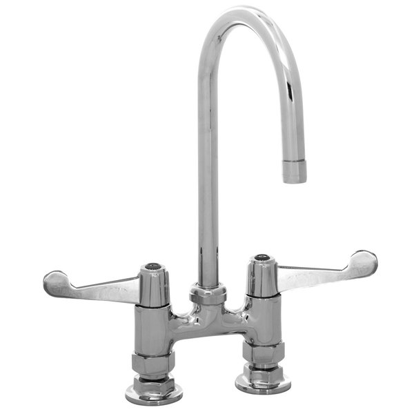 """Equip by T&S 5F-4DWS05 Deck Mounted Swivel Gooseneck Faucet with 4"""" Centers and Wrist Action Handles - 14 1/16"""" High with 5 9/16"""" Spread"""
