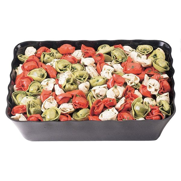 Cambro SFR1012110 Black ShowFest Rectangular Serving Bowl with Scalloped Edges 4.5 Qt. - 6/Case Main Image 1