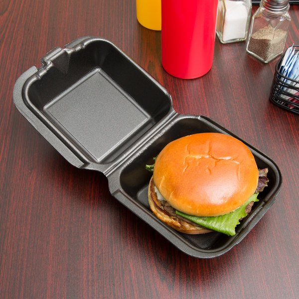 """Genpak SN225-BK 6"""" x 6"""" x 3"""" Black Foam Container with Hinged Lid - 500/Case"""