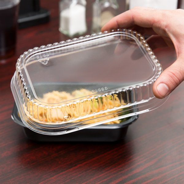 Genpak 95516 Clear Overcap Lid for Dual Ovenable Food Pans - 500/Case