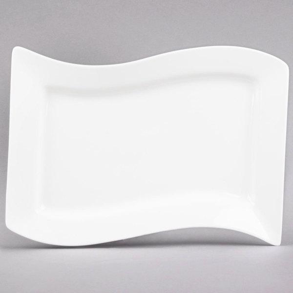 """CAC MIA-51 Miami 15 1/2"""" x 10 1/2"""" Bone White Rectangular Porcelain Platter - 12/Case"""
