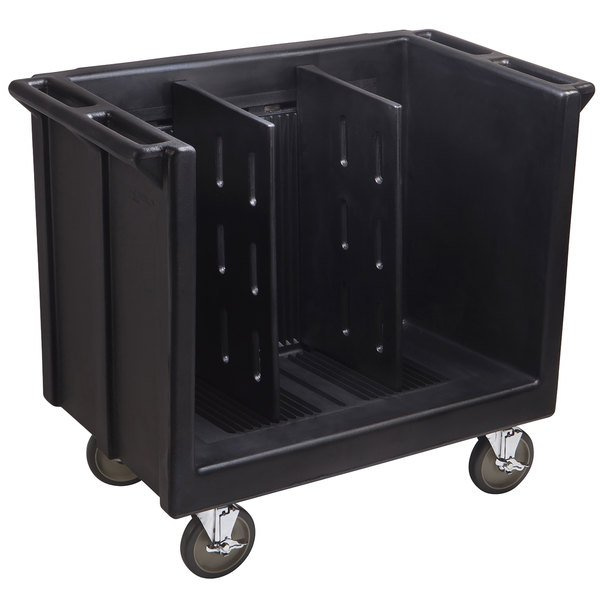 Cambro TDC30110 Adjustable Black Tray and Dish Cart with Vinyl Cover Main Image 1