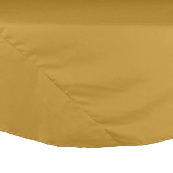 "132"" Yellow Round Hemmed Polyspun Cloth Table Cover"