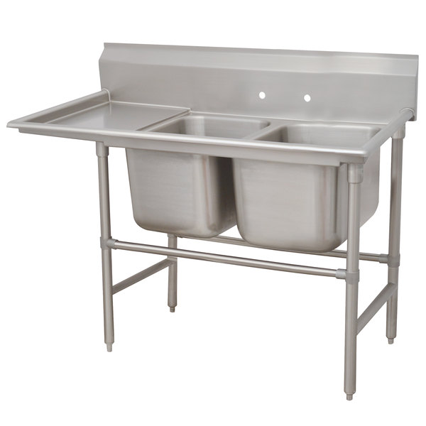 Left Drainboard Advance Tabco 94-22-40-18 Spec Line Two Compartment Pot Sink with One Drainboard - 66""