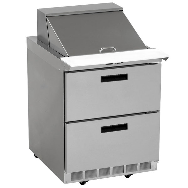 "Delfield UCD4427N-6 27"" 2 Drawer Reduced Height Refrigerated Sandwich Prep Table"