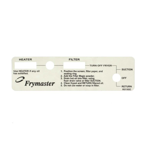 Frymaster 8021302 Label,Pf Frymster Switch Plate