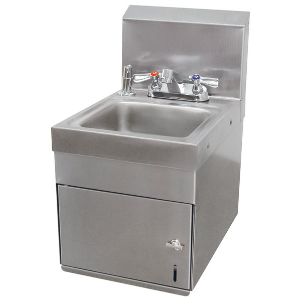 Advance Tabco 7 Ps 88 E Saving Wall Mounted Hand Sink With Undermount Paper Towel Dispenser