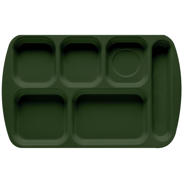"""GET TR-151 Hunter Green Melamine 10"""" x 15 1/2"""" Right Hand 6 Compartment Tray - 12/Pack"""