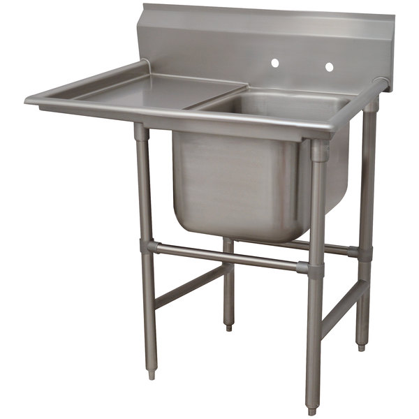 Left Drainboard Advance Tabco 94-1-24-36 Spec-Line One Compartment Pot Sink with One Drainboard - 58""