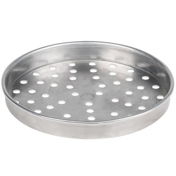 """American Metalcraft PHA5108 5100 Series 8"""" Perforated Heavy Weight Aluminum Straight Sided Self-Stacking Pizza Pan"""