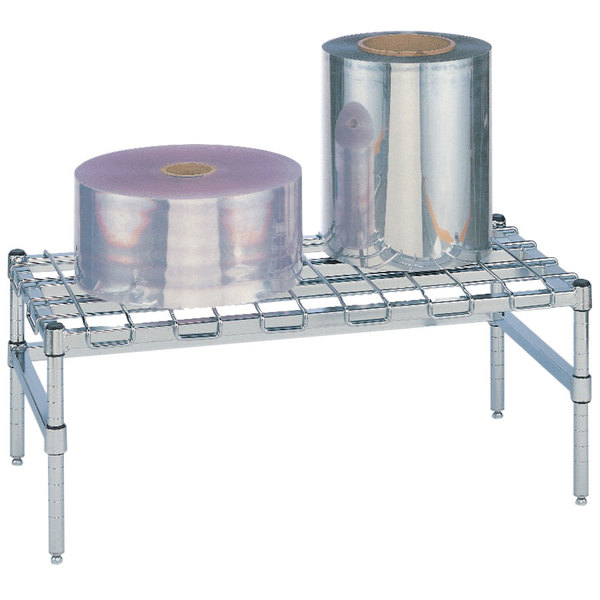 """Metro HP51C 24"""" x 24"""" x 14 1/2"""" Heavy Duty Chrome Dunnage Rack with Wire Mat - 1600 lb. Capacity"""