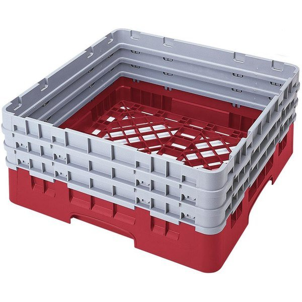 Cambro BR712163 Red Camrack Customizable Full Size Open Base Rack with 3 Extenders