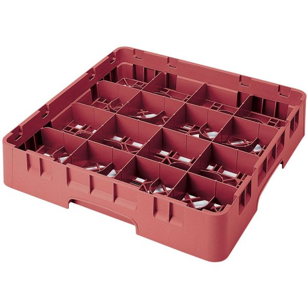 "Cambro 16S318416 Camrack 3 5/8"" High Customizable Cranberry 16 Compartment Glass Rack"