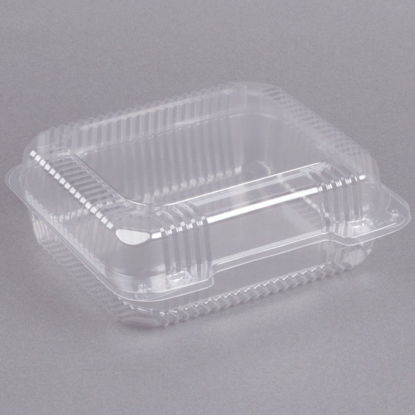 Dart C51UT1 StayLock 8 1/4 inch x 7 3/4 inch x 3 inch Clear Hinged Plastic Medium Container - 250/Case