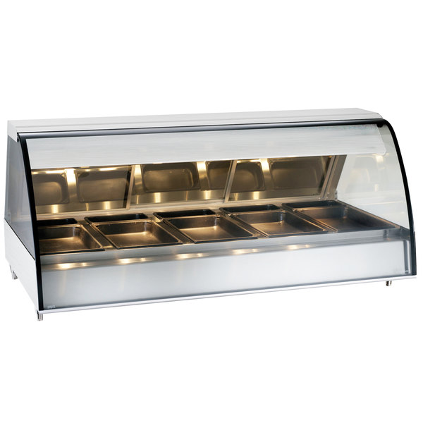 """Alto-Shaam TY2-72 SS Stainless Steel Countertop Heated Display Case with Curved Glass - Full Service 72"""""""