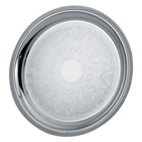 """Vollrath 82366 Elegant Reflections 12 3/8"""" Silver Plated Stainless Steel Round Catering Tray"""