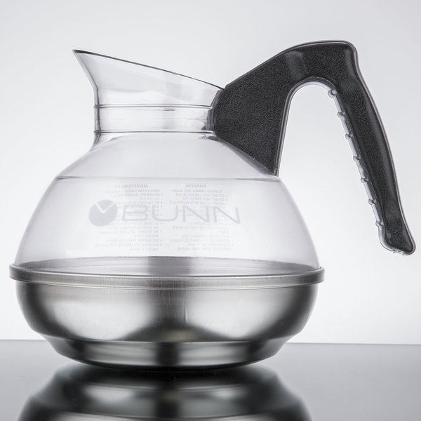 Bunn 06100.0101 64 oz. Easy Pour Coffee Decanter with Black Handle and Stainless Steel Bottom