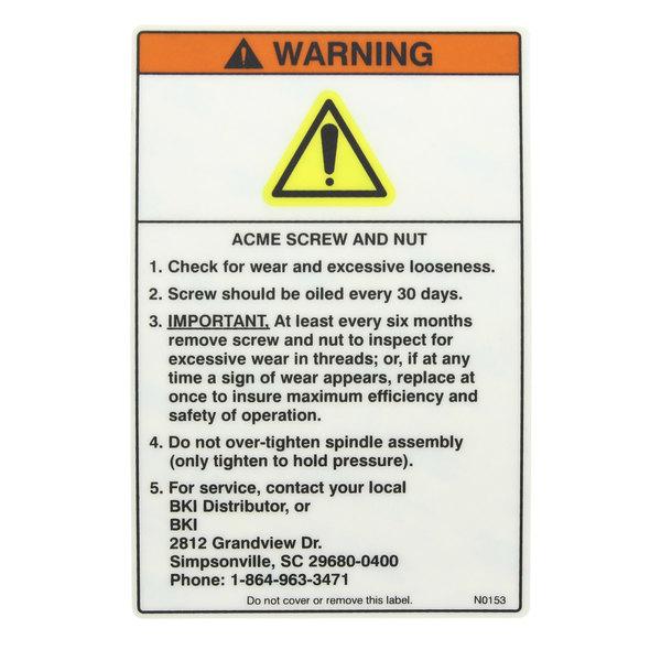 BKI N0153 Decal Warning