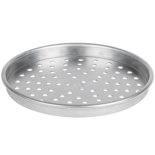 """American Metalcraft PHA90111.5 11"""" x 1 1/2"""" Perforated Heavy Weight Aluminum Tapered / Nesting Pizza Pan"""