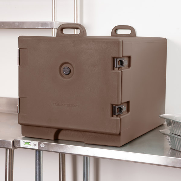 Cambro 1826MTC131 Camcarrier Dark Brown Front Loading Insulated Tray / Sheet Pan Carrier for Full Size Pans