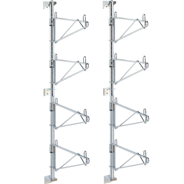 "Metro SW56C Super Erecta Chrome Four Level Post-Type Wall Mount End Unit for 24"" Deep Shelf - 2/Pack"