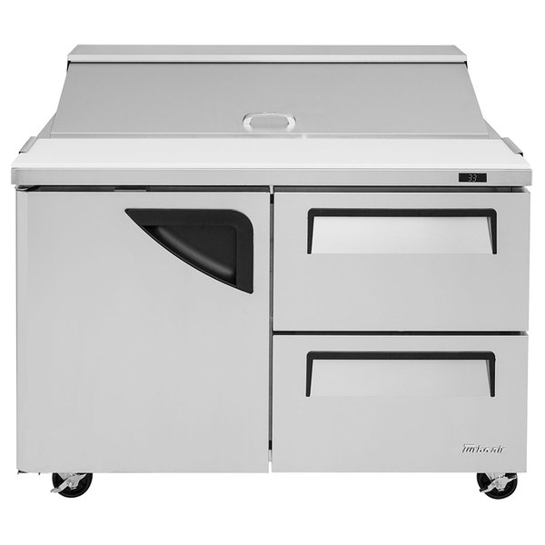 "Turbo Air TST-48SD-D2 48"" 1 Door 2 Drawer Refrigerated Sandwich Prep Table"