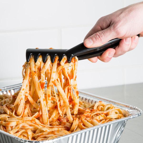 """Cambro TGA8110 Lugano 8"""" Black Angled Plastic Spaghetti Tong - 12/Case"""