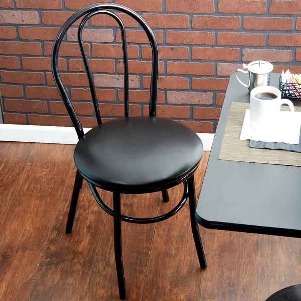 "Lancaster Table & Seating Black Hairpin Cafe Chair with 1 1/4"" Padded Seat"