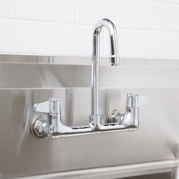 "Equip by T&S 5F-8WLX03 Wall Mounted Faucet with 9 1/4"" Rigid Gooseneck Spout, 5.2 GPM Laminar Flow Device, 8"" Adjustable Centers, and Lever Handles Main Image 10"