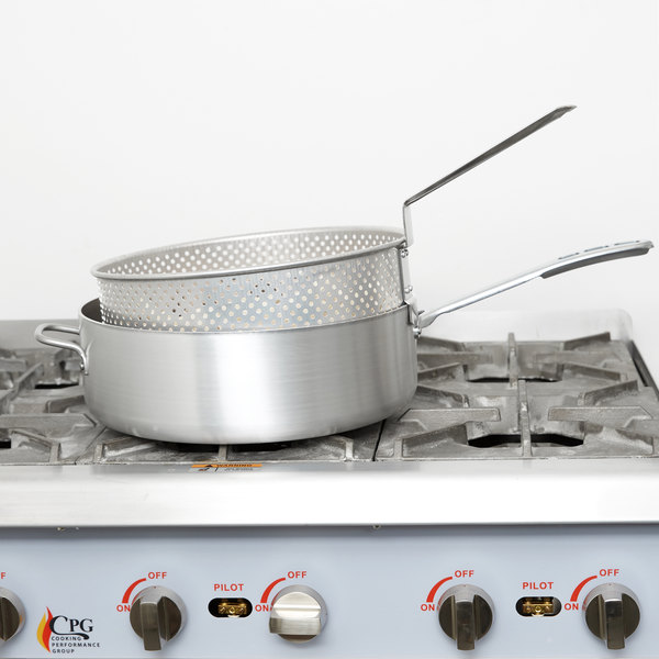 Vollrath 68228 Wear-Ever 12 Qt. Heavy Duty Aluminum Fry Pot with Basket and TriVent Chrome Plated Handle