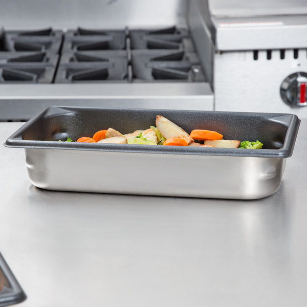"""Vollrath 70322 Super Pan V® 1/3 Size Anti-Jam Stainless Steel SteelCoat x3 Non-Stick Steam Table / Hotel Pan - 2 1/2"""" Deep"""