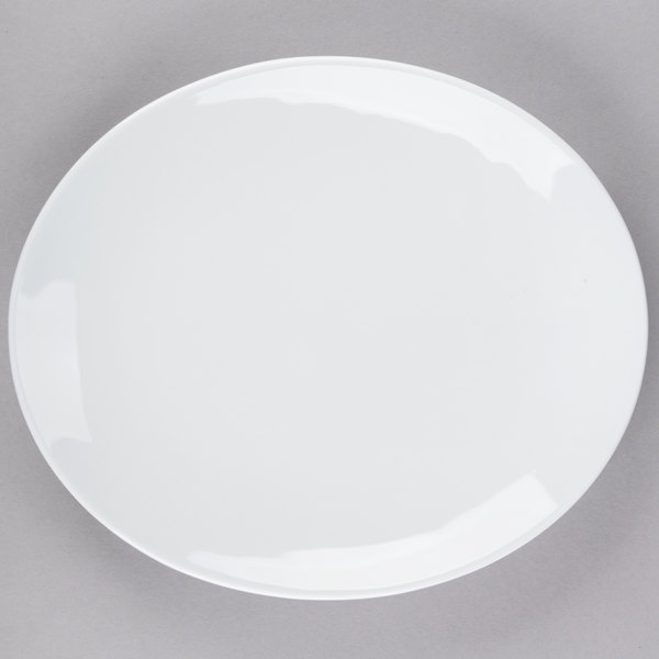 Tuxton VPH-114 Florence 11 1/2 inch x 9 7/8 inch Bright White Coupe Oval China Platter - 12/Case