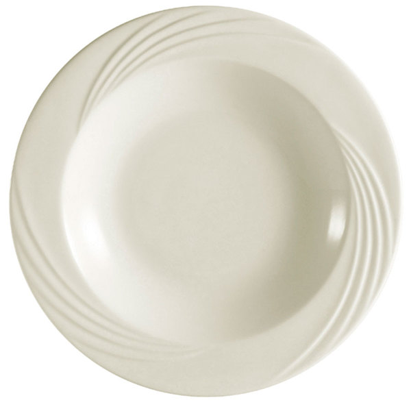 "CAC GAD-3 Garden State 8 1/2"" Bone White Round Porcelain Soup Plate - 24/Case Main Image 1"