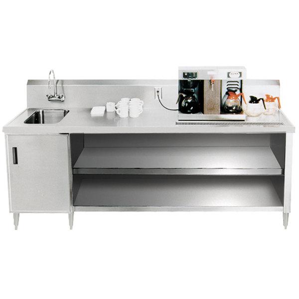 """Sink on Left Advance Tabco BEV-30-144 Enclosed Base Beverage Table - 144"""""""