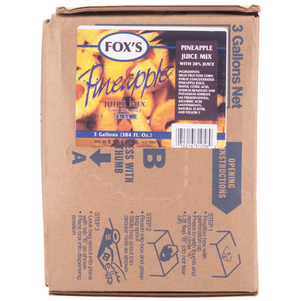 Fox's 3 Gallon Bag In Box Pineapple Juice Syrup