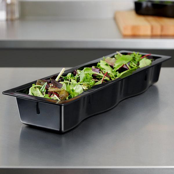 Carlisle 699003 Modular Displayware 1 2 Size Long Black Polycarbonate Straight Edge Food Pan 2 1 2 Deep