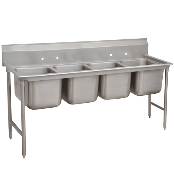"""Advance Tabco 93-84-80 Regaline Four Compartment Stainless Steel Sink - 97"""" Main Image 1"""