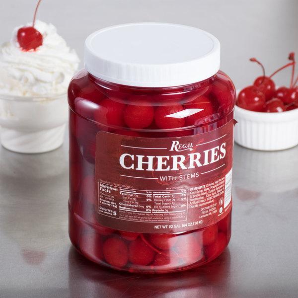 Regal Maraschino Cherries with Stems - 1/2 Gallon