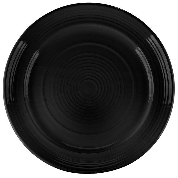 """Tuxton CBA-120 Concentrix 12"""" Black China Plate - 6/Case"""