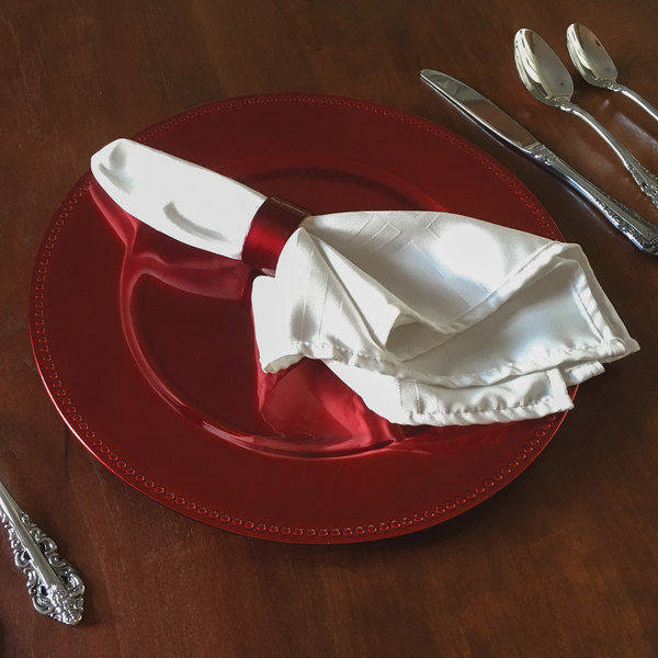 """Tabletop Classics by Walco TRR-6655 13"""" Red Round Plastic Charger Plate with Beaded Rim"""